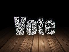 Political concept: Vote in grunge dark room - stock illustration
