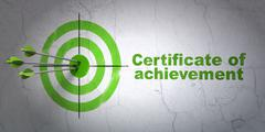 Studying concept: target and Certificate of Achievement on wall background Stock Illustration