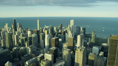 Aerial cityscape view of skyscrapers and Lake Michigan Chicago Stock Footage