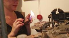 Jewelry Designer in her workshop - stock footage