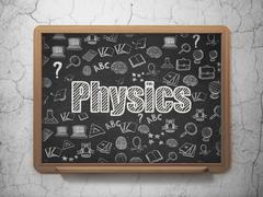 Studying concept: Physics on School board background Stock Illustration