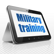 Studying concept: Tablet Computer with Military Training on display - stock illustration