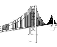Vector Golden Gate Bridge - San Francisco - stock illustration