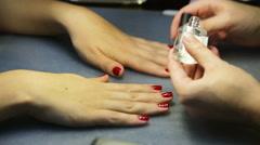 Women's manicure, Nail Polish - stock footage