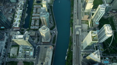 Aerial view of Chicago River and marina boats USA Stock Footage