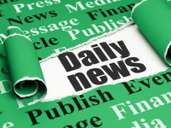 News concept: black text Daily News under the piece of  torn paper - stock illustration