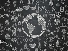 Science concept: Globe on School board background - stock illustration