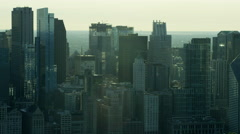 Aerial view of Chicago city skyline and lake Michigan USA - stock footage