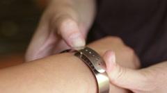 Bracelet Gauge Wrist and Bracelet Sizes - stock footage