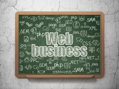 Web design concept: Web Business on School board background - stock illustration