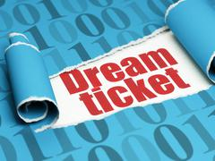Business concept: red text Dream Ticket under the piece of  torn paper - stock illustration