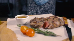 Ready Medium Rare Grilled Beef Stock Footage