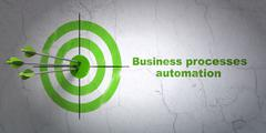 Business concept: target and Business Processes Automation on wall background - stock illustration