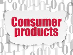 Business concept: Consumer Products on Torn Paper background Stock Illustration