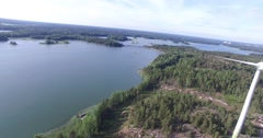 Aerial view of Barosund area, in Inkoo archipelago, in Finland Stock Footage