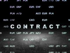 Finance concept: Contract in grunge dark room - stock illustration