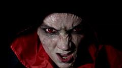 4k shoot of a horror Halloween model grimacing at camera Stock Footage