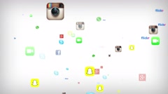 Social Media Icons Floating Version 3 Stock Footage