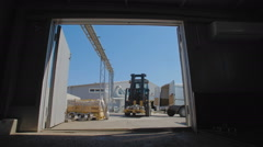 Lift Truck transports the flanges to the hangar Stock Footage