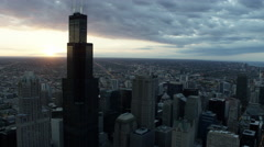 Aerial sunset view of Sears Tower and city skyscrapers Chicago USA Stock Footage
