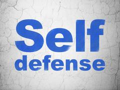 Security concept: Self Defense on wall background - stock illustration