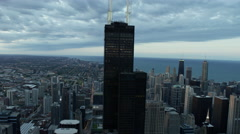 Aerial sunset view in close up Willis Tower Chicago Illinois USA Stock Footage