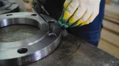 Worker Measures The Diameter with The Flange Caliper Stock Footage
