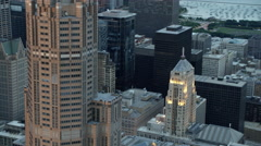 Aerial sunset view of downtown city skyscrapers Chicago Illinois US Stock Footage