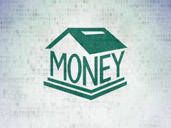 Currency concept: Money Box on Digital Data Paper background - stock illustration