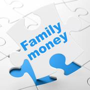 Currency concept: Family Money on puzzle background - stock illustration