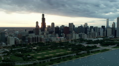 Aerial sunset view of boats on Lake Michigan and marina Chicago USA Stock Footage