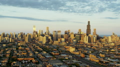 Aerial cityscape sunset view of urban areas and skyscrapers Chicago USA Stock Footage