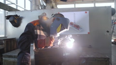 Welder in Workshop Work with Pipe Stock Footage