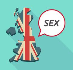 Long shadow United Kingdom map with    the text SEX - stock illustration