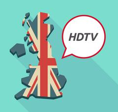 Long shadow United Kingdom map with    the text HDTV - stock illustration