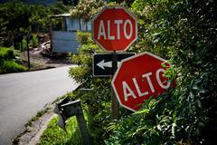 Alto signs in Santa Elena Costa Rica Stock Photos