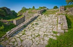 Acropolis Road at Troy in Turkey Stock Photos