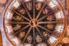 Detail of Ceiling in Chora Church - stock photo