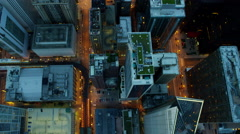 Aerial overhead view of Chicago city skyscraper buildings at sunset Stock Footage