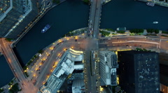 Aerial sunset view of city freeways and water canals Chicago USA Stock Footage