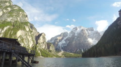 Fisherman house standing near lake in South Tyrol, amazing view on mountains Stock Footage