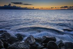 Crashing Waves on Beach Stock Photos
