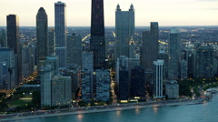 Aerial sunset view of Chicago city freeway traffic and skyscrapers Stock Footage