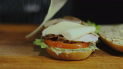 Chef Adds Cheese Slices On a Sandwich Stock Footage