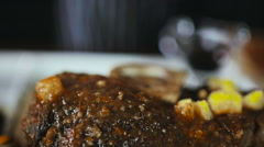 Chef Puts Pineapple In Sauce To Roasted Pork Stock Footage