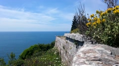The fortress Wall, adriatic sea, yellow flowers, blue sky, cloudy weather - stock footage