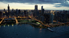 Aerial sunset view of Chicago marina and waterfront Stock Footage