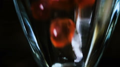 Tea Bubbles Falls in Glass Slow Motion Stock Footage
