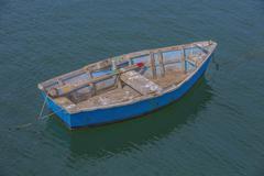 Bright Blue Rowboat Stock Photos