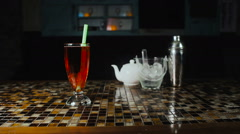 Tea Bubbles Drink on Restaurant Stock Footage